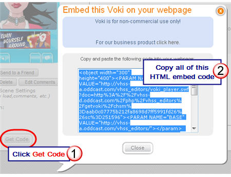 Copying the Voki HTML embed code