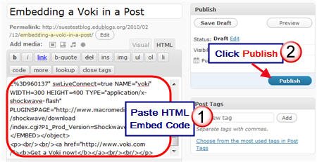 Adding a voki to a page or post