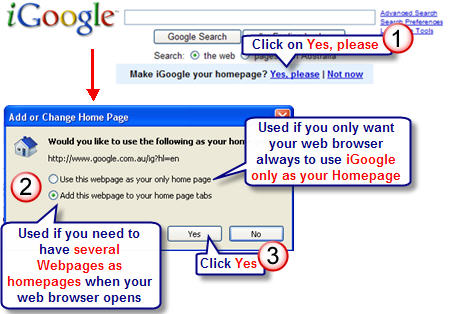 Image of setting iGoogle as homepage
