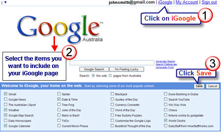 Image of setting up iGoogle page
