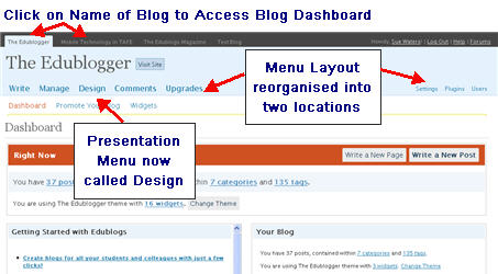 Image of new Edublogs Dashboard