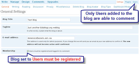 Image of registered user setting