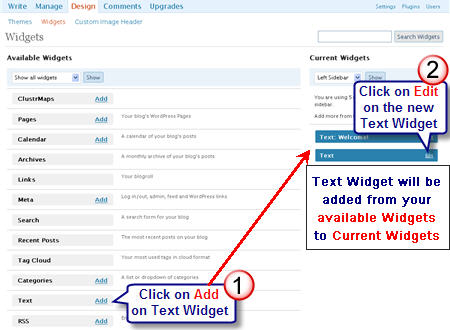 Image of adding a text widget