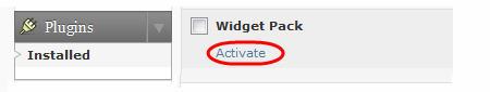 Activating your widget pack