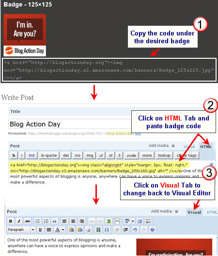 Image of adding badge for Blog Action Day