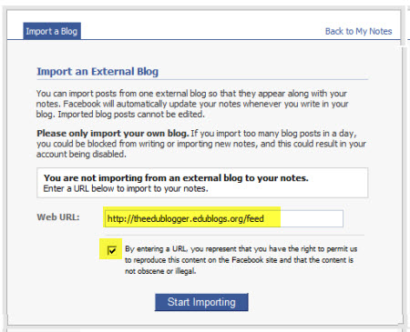 Adding your Feed to Facebook