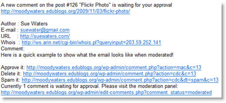 Image of comment moderation email