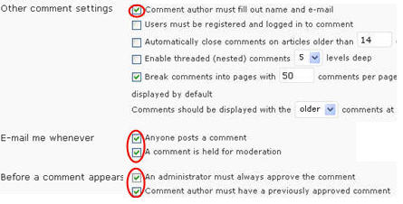 Image of comment moderation setting