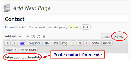 Adding contact form code to a contact page