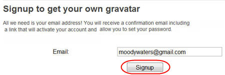 Signing up for a Gravatar