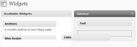 Adding Links widget to sidebar