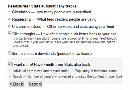 Selecting your Feedburner Stats options
