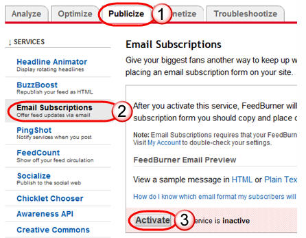 Activating FeedBurner Email subscription