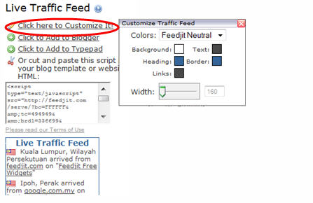Customize Live Traffic Widget