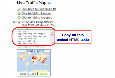 Grab embed code for Feedjit Map