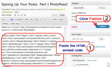Adding PhotoPeach Embed code to a post