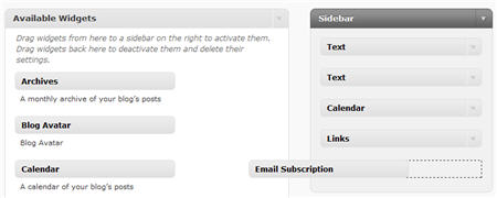 Adding an email subscription widget
