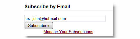 Email subscription widget in blog sidebar