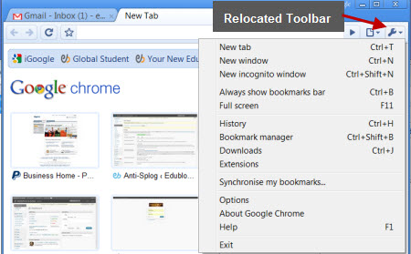 Google Chrome toolbar