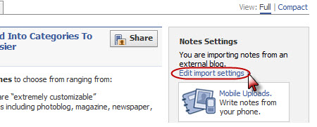 Editing your import settings