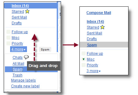 Drag and dropping your spam folder