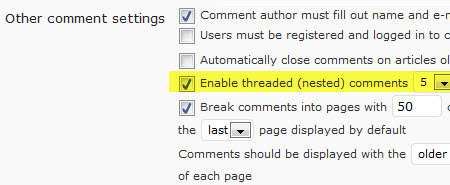 Enabling threaded comments