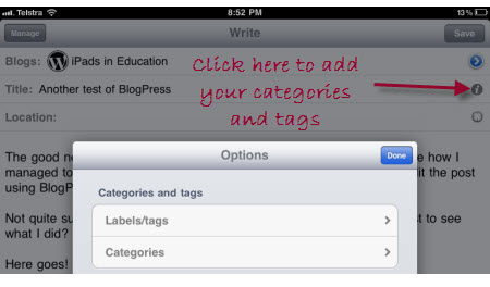 Adding categories and tags using BlogPress