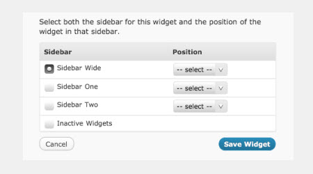 Choose sidebar and location of widget