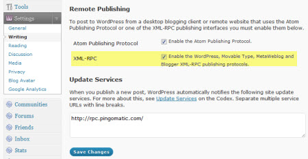 Enabling XML-RPC