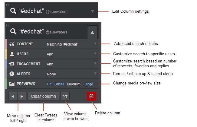 TweetDeck Column Settings