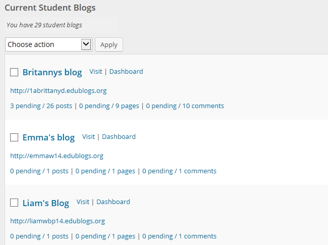 Student blogs page