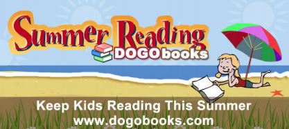 DOGO Books Summer Reading Challenge: PIcture of books on the beach with info about going to dogobooks.com to enter